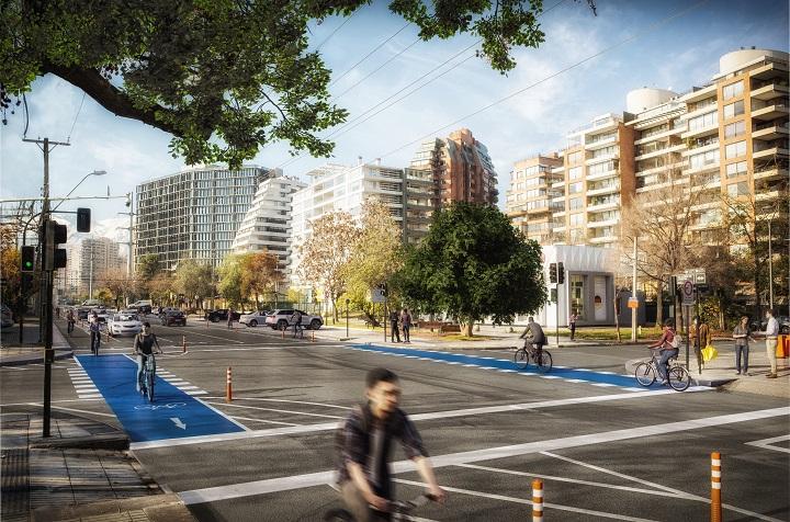 Montaje de las ciclovías que recorrerán la Av. Alonso de Córdova, entre el Parque Bicentenario y Av. Américo Vespucio